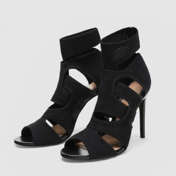 c0490badc6e Zara Woman Black Wraparound Elastic Heels 2018 NEW